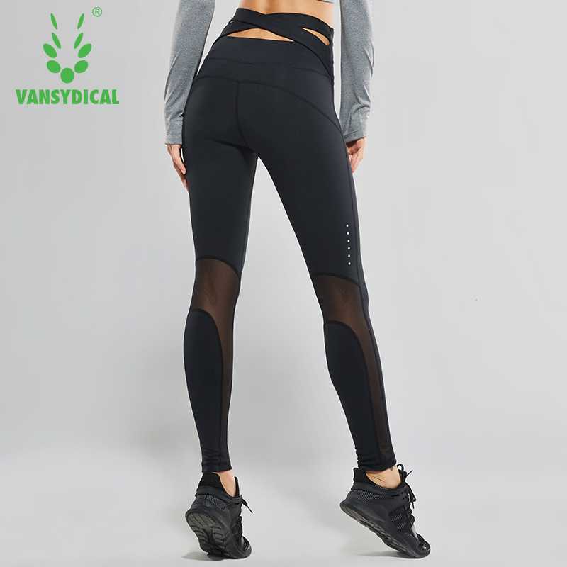Vansydical Women High Waist Yoga Pants Cross Belt Dance Tights Compression Running Leggings Skinny Fitness Sports Pants high waist color block skinny sports leggings