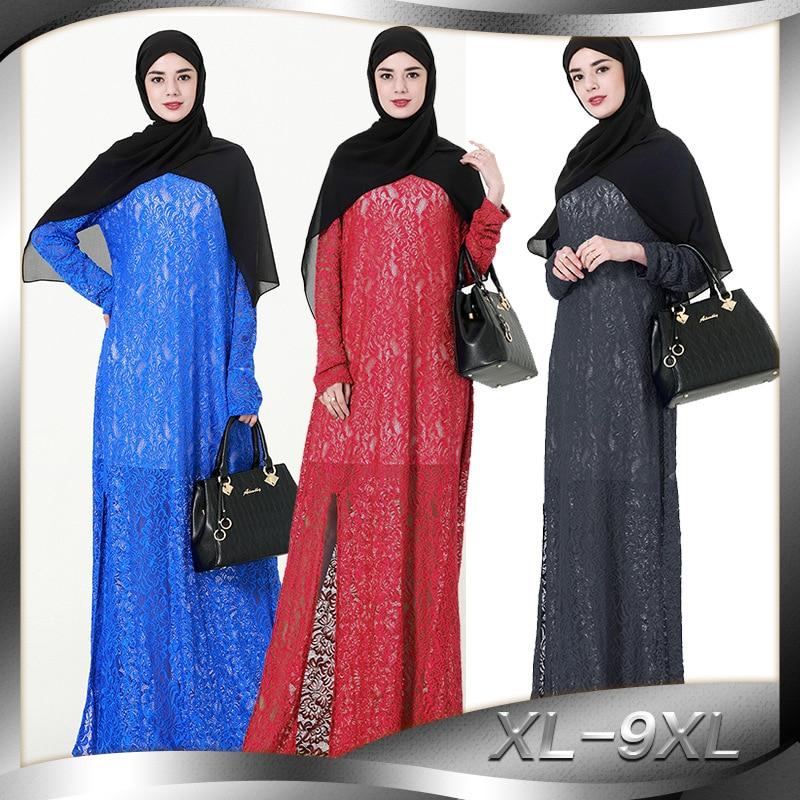 Femmes Robe en dentelle musulmane O cou à manches longues Split femmes Robe Abaya Dubai Robe 9XL grande taille Robe islamique