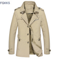 FGKKS Brand Winter New Mens Jacket New Men Casual Solid Color Long Section Coat Male Fashion Comfortable Jackets