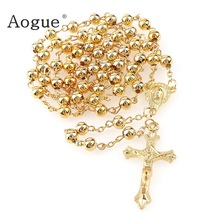 Rosario de Metal de 6mm con cuentas de oro y plata, Rosario de Metal, collar barato, joyería religiosa de oración del catolicismo
