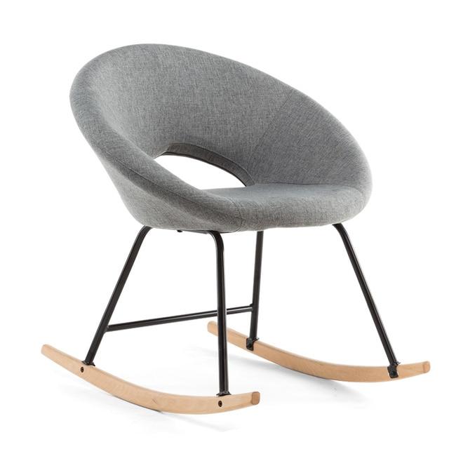 124 1 Chaise A Bascule Scandinave Moderne Bois Naturel Et Tissu Rembourrage Siege Salon Meubles Hamac Chaise Fauteuil A Bascule Dans Chaises