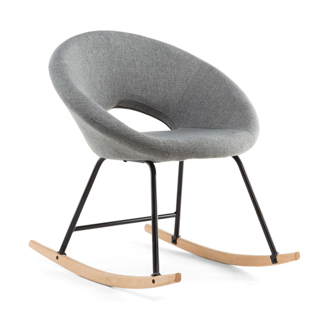 Modern Scandinavian Rocking Chair Natural Wood and Fabric Upholstery Seat  Living Room Furniture Hammock Chair Rocker