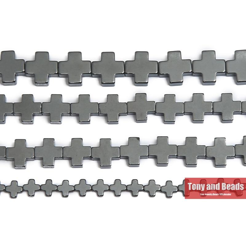 Pietra naturale senza forma di croce magnetica perline di ematite nera 6x6 10x10MM 15