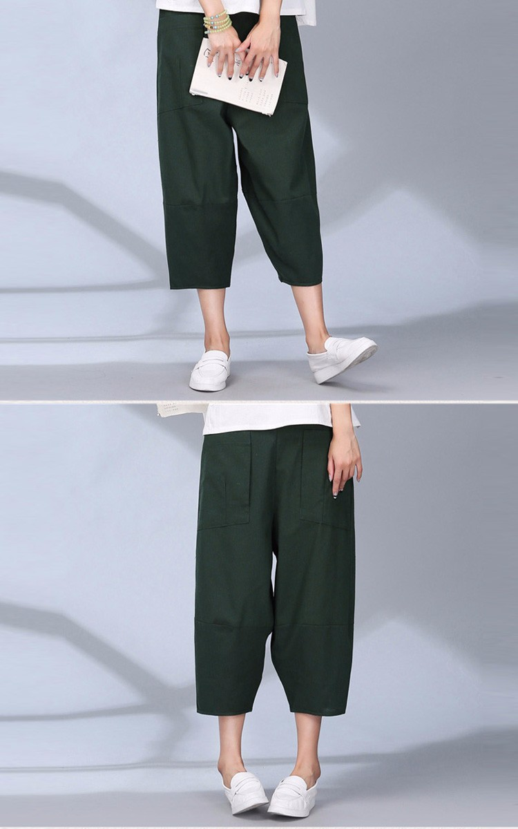 women calf length linen pants wide leg pants elastic waist sport pants casual loose solid trousers for women plus size L-2XL A10 d