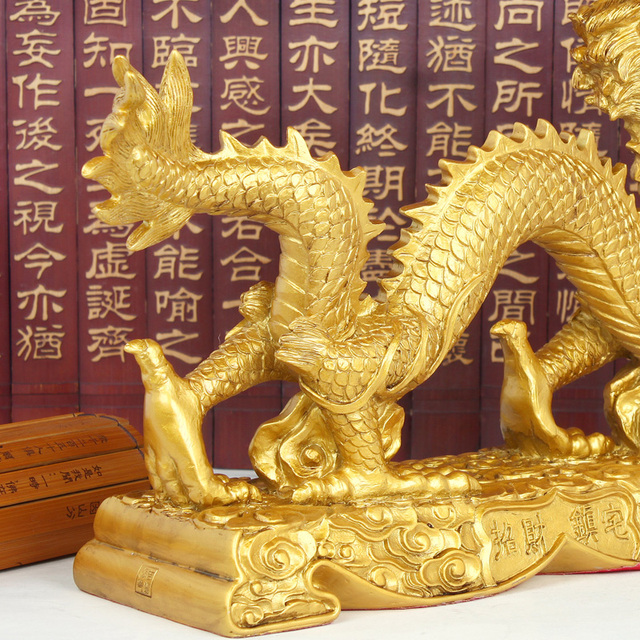 Family feng shui ornaments Imitation copper lucky town house home crafts decorations gold dragon ornaments 3