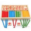 2016 nueva llegada del bebé juguetes de madera matemáticas inteligencia Stick educación Building Blocks Montessori matemáticas caja de hierro