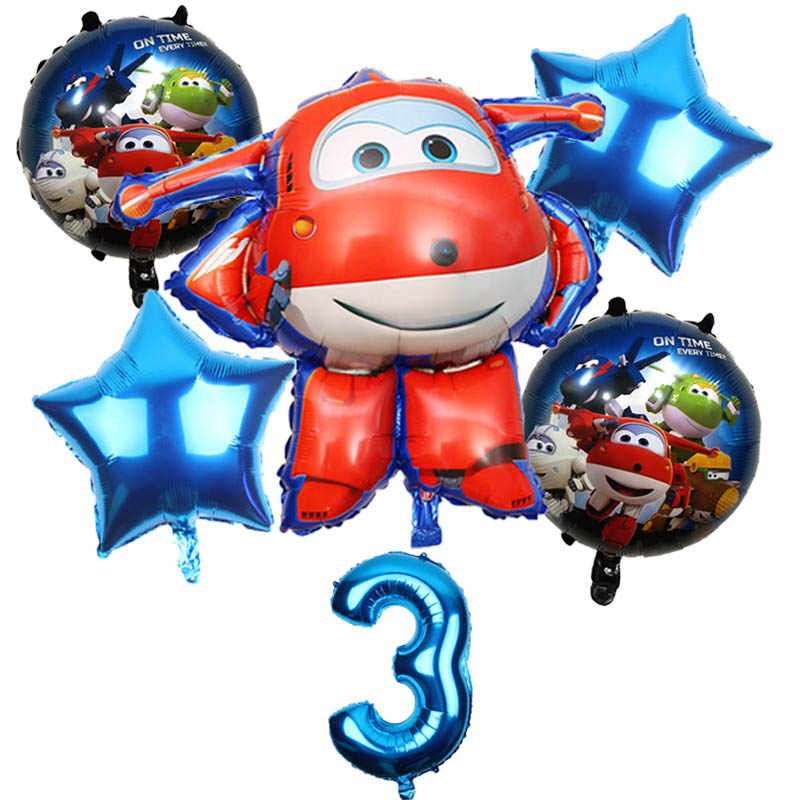 6Pcs 3D Super Wings Balloon Jett balloons Super Wings toys Birthday Party 32 inch Number Decorations kids toy Balloons supplies