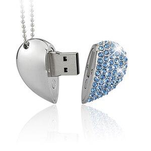 Image 5 - USB flash disk pen drive 64GB Shiny heart pendrive 4G 8G 16GB 32GB 128GB metal memory stick creative gift cle usb2.0 flash drive