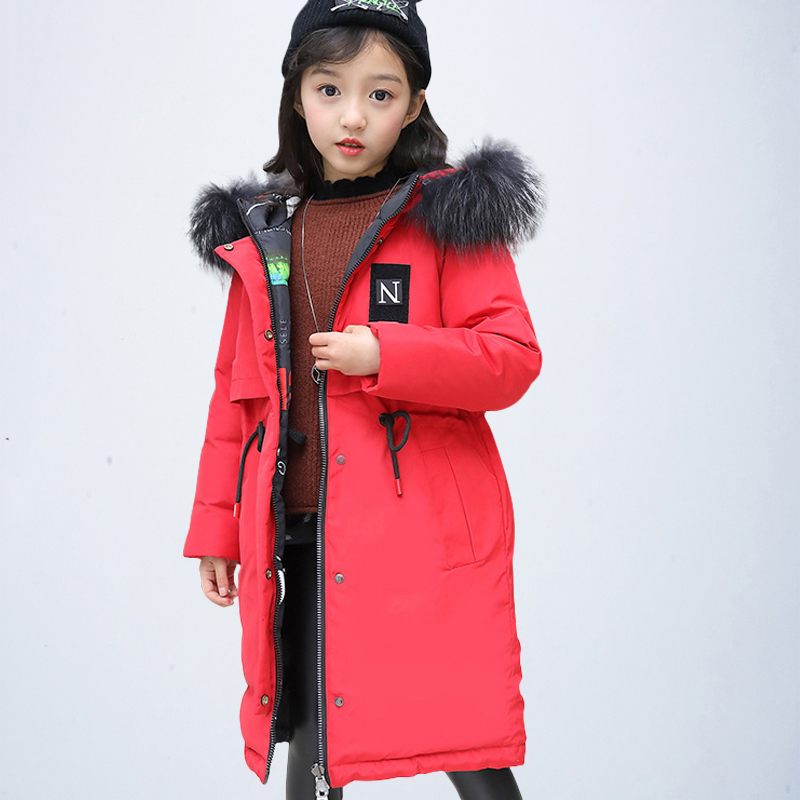 Children Winter Jacket Girls Coat Kids Warm Thick Fur Collar Hooded Long Down Coats Double Side Girls Clothing Clothes 8 14 Year