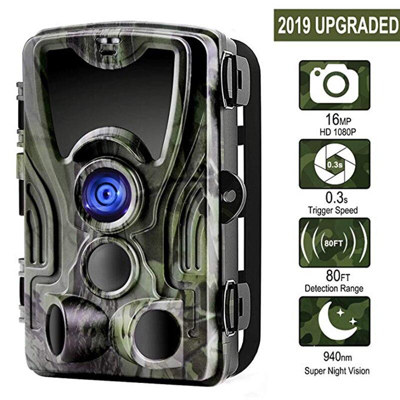 Suntekcam HC-801A + 16MP 32GB caméra de chasse 1080P Trail IP65 pièges Photo 0.3s temps de déclenchement sauvage pour la Vision nocturne du chasseur