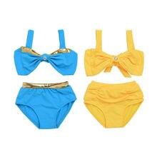 Mikrdoo 2-7Y children swimwear 2pcs Set girls swimwear baby kids biquini infantil Bikini Girl New Summer bathing Suit