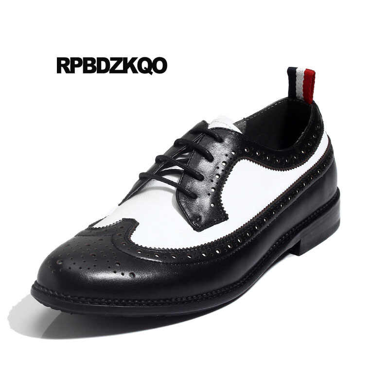 mens black and white wingtip shoes