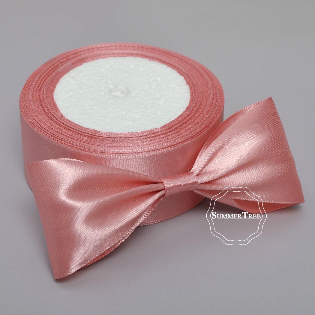 25m DIY Satin Trim Ribbon Crafts with Light pink for Wedding Supplies 10mm