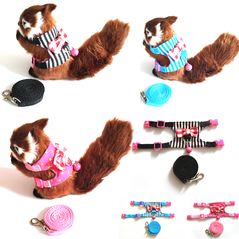 Small Pet Rabbit Cute Harness Vest And Leash For Ferret Guinea Pig Bunny Hamster Rabbits Puppy Bowknot Chest Strap Harness 27