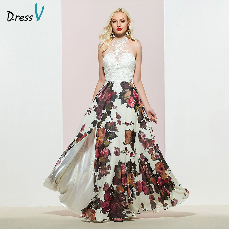 Dressv HALTER-NECK Party-Gown Appliques Backless Evening Elegant Sleeveless Lace Customize