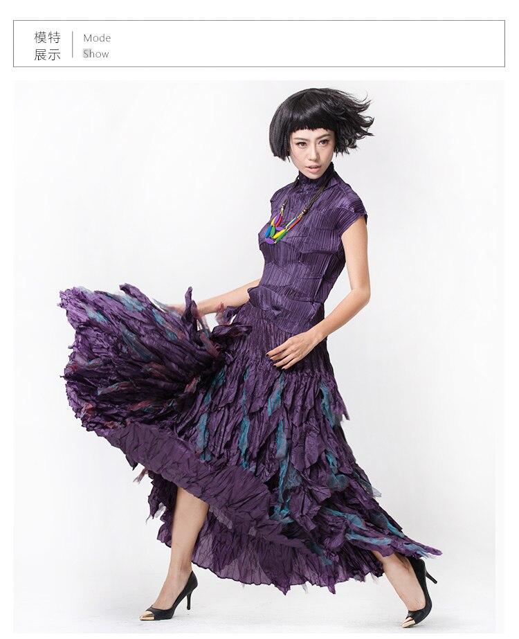 FREE SHIPPING Miyake fashion fold disorderly plait skirt Handmade posed fold multi-layer petal bust dance skirt IN STOCK