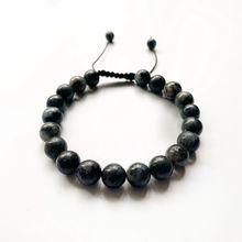 цена Black Labradorite Stone Natural Beads Round Balls Bracelet Handmade Knots Flash Stone Healing Crystal Jewelry 8MM онлайн в 2017 году