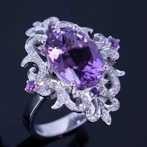 Image 2 - HELON anillo de compromiso de Plata de Ley 925 con amatista Natural, anillo ovalado con diamantes de 100% de 4,54 quilates, joyería fina con flores especiales para mujeres