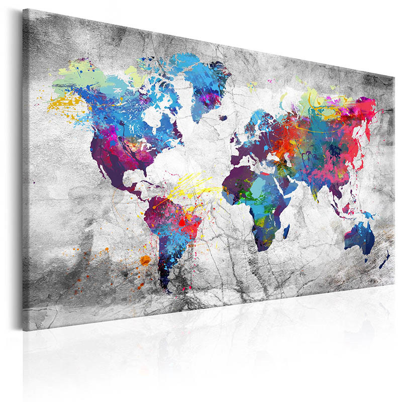 Colorful World Map, Home Decor Wall Art, World Map Canvas, bedroom wall art, colorful wall art living room, wall decor,