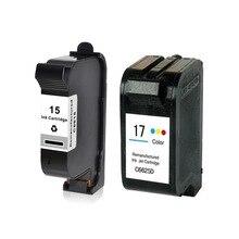 שחור וצבע ממוחזרות 15 17 דיו מחסנית C6615D C6615A C6625A עבור HP Deskjet 816c 825c 840c 841c 842c 843c 845c 825Cv