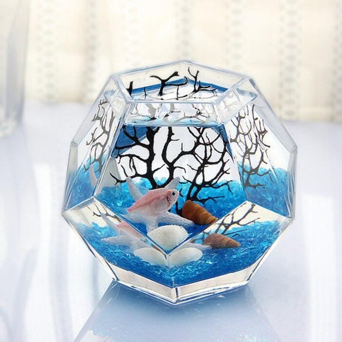Polyèdre Mini Aquarium y compris ornements épaissi verre Aquarium Table créative Tropical Aquarium Transparent boîte à poisson