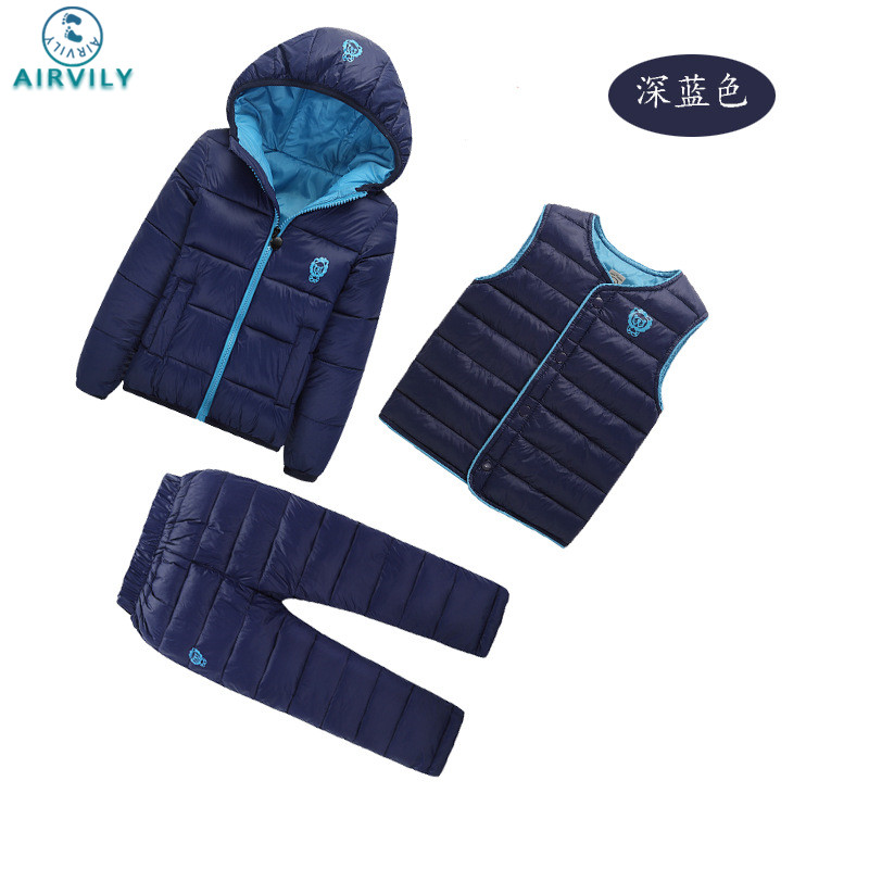 2017 Winter Baby Girls Boys Clothes Sets Children Down Cotton-padded Coat+Vest+Pants Kids Infant Warm Outdoor Suits 2017 winter children cotton padded parkas clothes baby girls