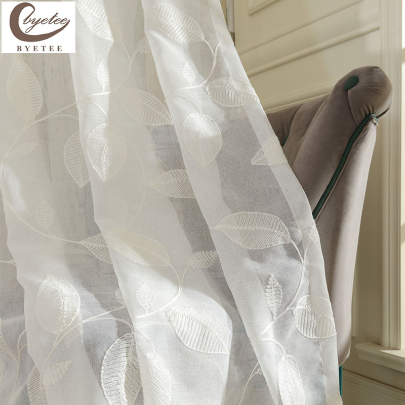 byetee modern white embroidered voile curtains bedroom sheer curtains for living room tulle for kitchen free shipping