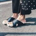 Женщины Из Натуральной Кожи с мехом Кролика Peep toe Плоские Сандалии Мягкие Furry Мулы Обувь Женские Тапочки Обувь размер 34-39