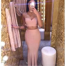 New 2017 2 Piece Prom Dresses Popular Spagheti Straps Satin Mermaid Evening Dress Vestido De Formatura