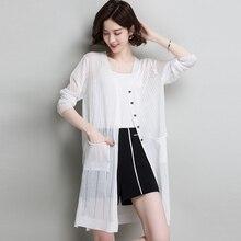 Summer Autumn Women Split Long Cardigan Casual Pocket Thin linen Ice Silk Knitted Cardigans Female Sunscreen Sweater Coat Jacket