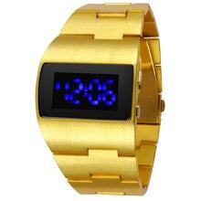 El hombre de Hierro de la manera de Lujo de Oro Azul Rojo LED de Los Hombres Relojes de Pulsera Creativo Diseño Único Vestido Reloj Relogio masculino