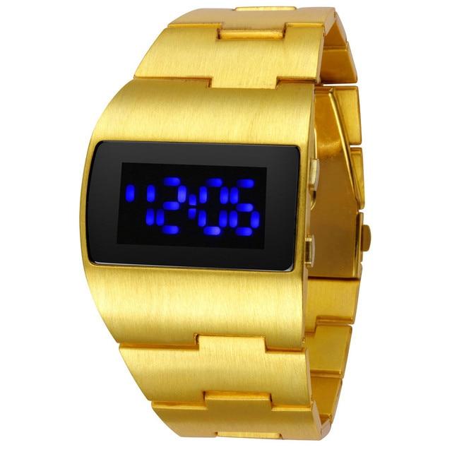 Fashion Iron man Luxury Gold Blue Red Men's LED Wrist Watches Creative Unique De