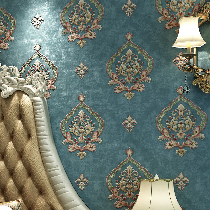 Modern Retro European Style Damask Non-woven Wallpaper 3D Embossed Wall Paper Rolls Bedroom Living Room Sofa TV Background Decor