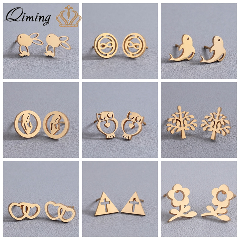 2019 Stainless Steel Stud Earrings for Women Girls Rabbit Animal Love Tree Small Gift Gold Simple Fashion Wholesale Earring Girl gold earrings for women