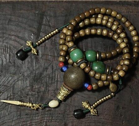Abençoado mala tibetano designer mala genuína phoebe 108 contas de oração budista oração mala contas cobre contador dorje amuleto