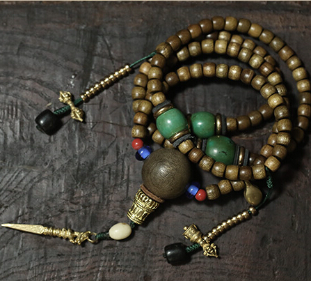 Bienheureux Mala tibétain designer Mala véritable Phoebe 108 perles de prière bouddhiste prière Mala perles cuivre compteur Dorje amulette