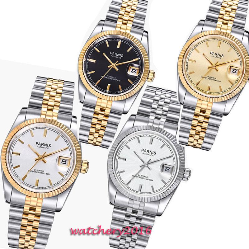 36mm parnis 다이얼 축광 날짜 창 전개 걸쇠 사파이어 21 보석 miyota 자동식 무브먼트 여성용 손목 시계-에서기계식 시계부터 시계 의  그룹 1