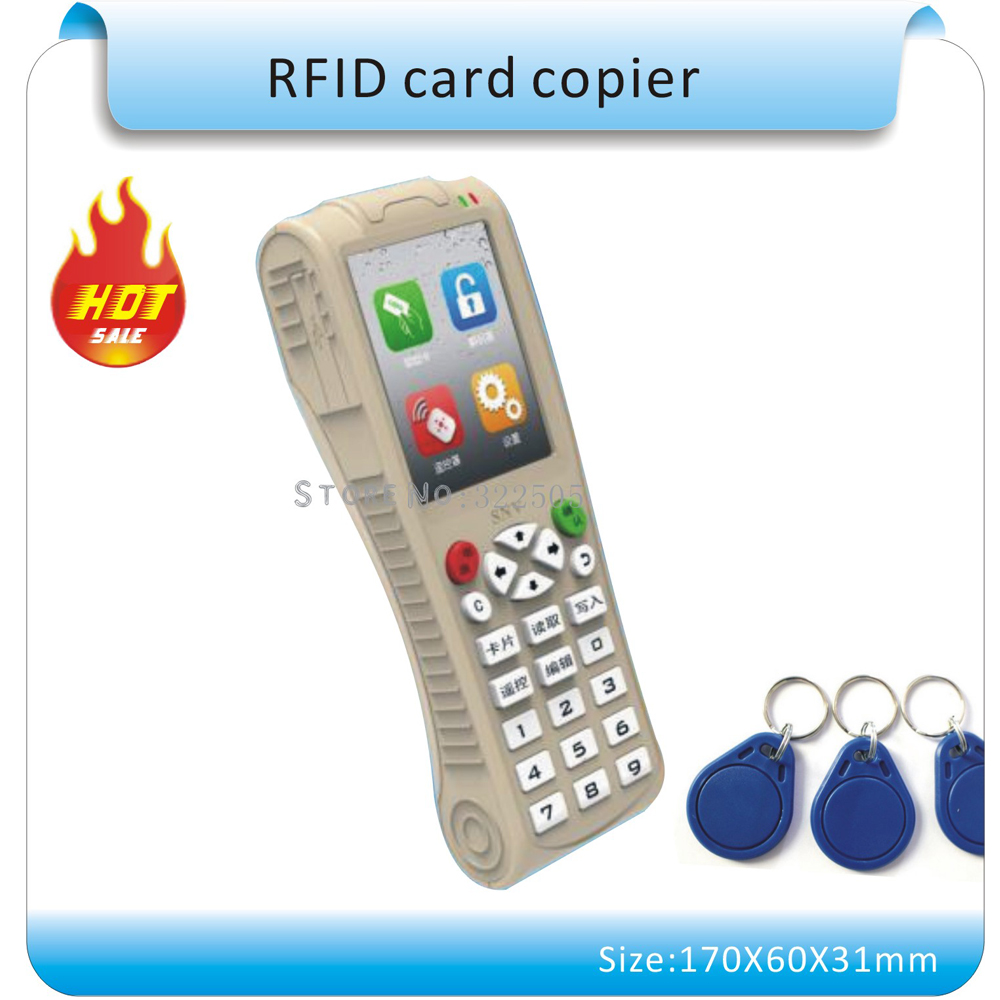 Super Handheld lithium battery more frequency RFID Copier Writer RFID Duplicator /Pub Apartment Card+30pcs Rewritable Keyfobs