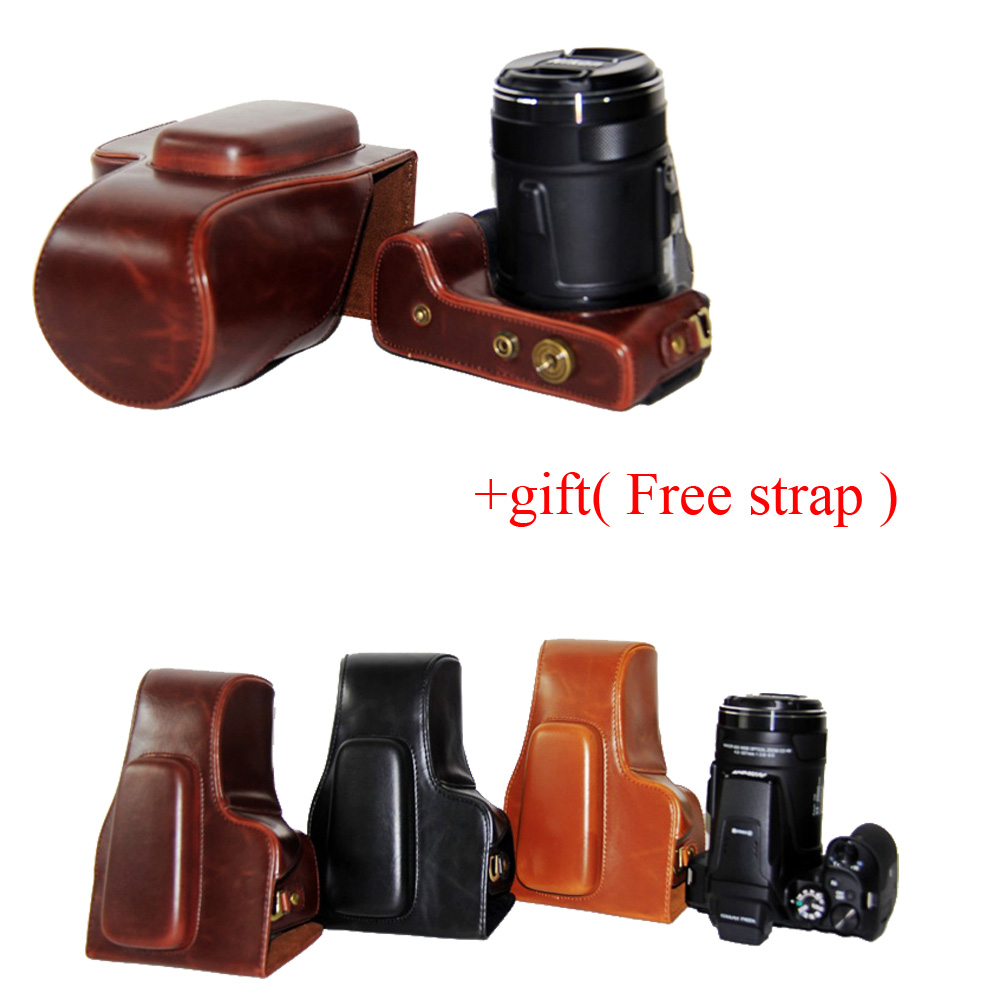 New PU Leather Video Camera case bag For Nikon Coolpix P900s P900 Camera Bag 3 color brown coffee black + Gift strap