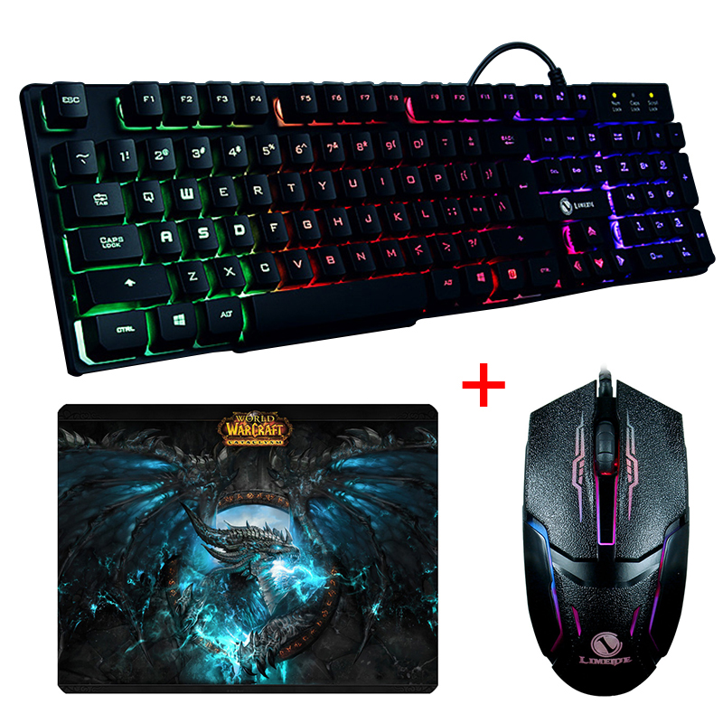 Wired Rainbow Backlit GTX300 illuminated Multimedia Ergonomic Usb Gaming Keyboard + Optical Gaming Mouse Sets + Cool Mouse Pad binmer keyboards m938 led backlit usb ergonomic gaming keyboard gamer mouse sets mouse pad td0110 dropship