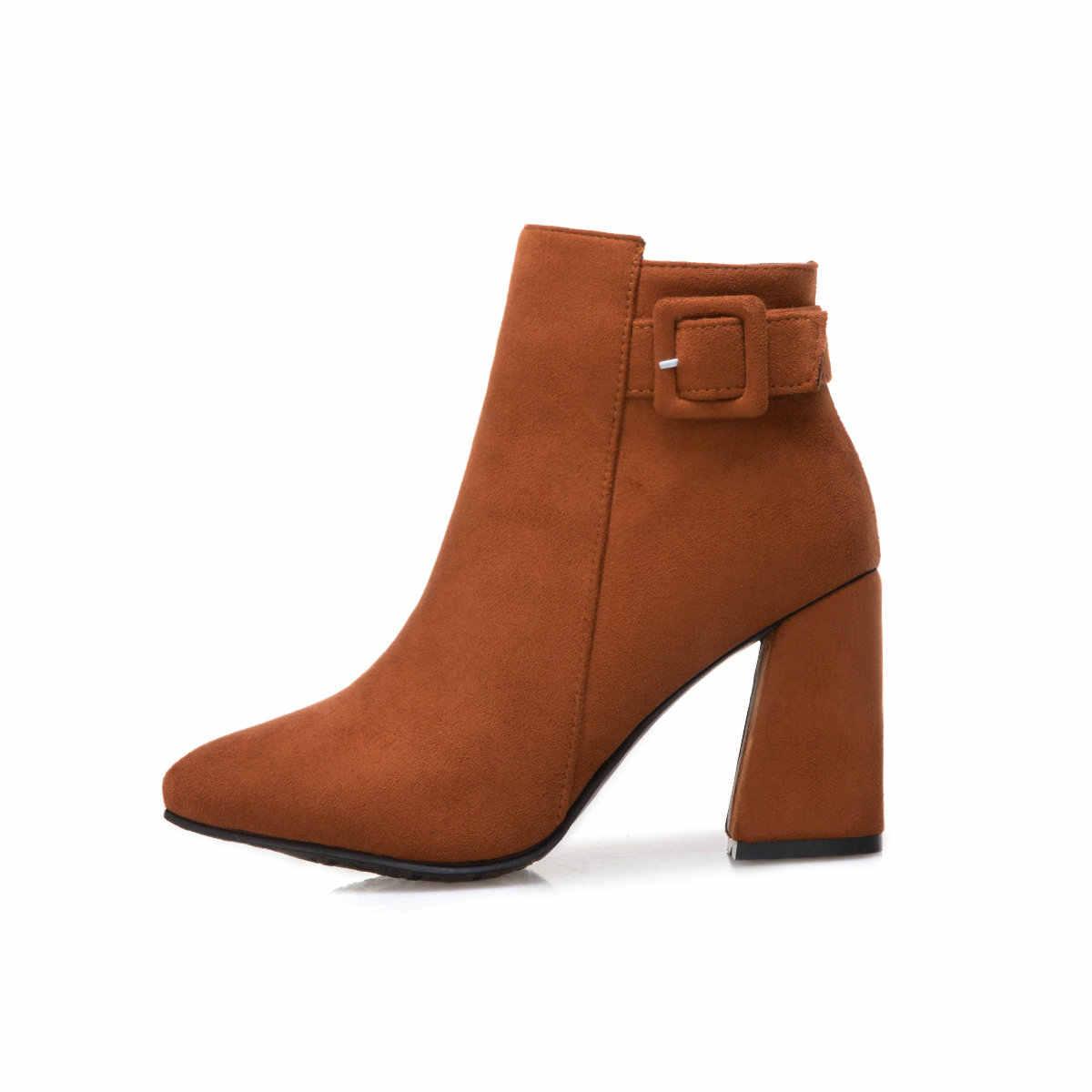 Kadın Fermuar Çizmeler Kalın Yüksek Topuk yarım çizmeler Akın Sivri Burun Moda Çizmeler Kış Artı Boyutu Bayan Ayakkabıları Siyah Mavi Sarı