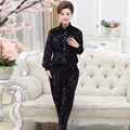 Autumn Two Piece Set Women Ladies Embroidered Velvet Long-sleeve Leisure Plus Size High Collar Single-breasted Fashion Sets J377