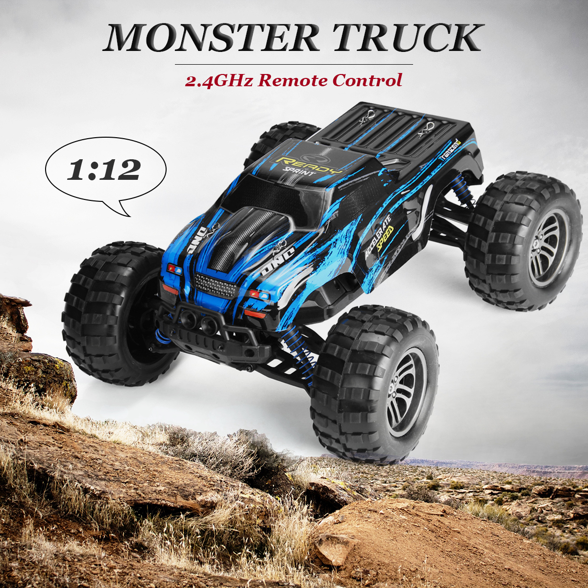 все цены на 1:12 2.4G High Speed Remote Control 4WD Off-Road Monster Truck High Speed RTR RC Car Toy Blue