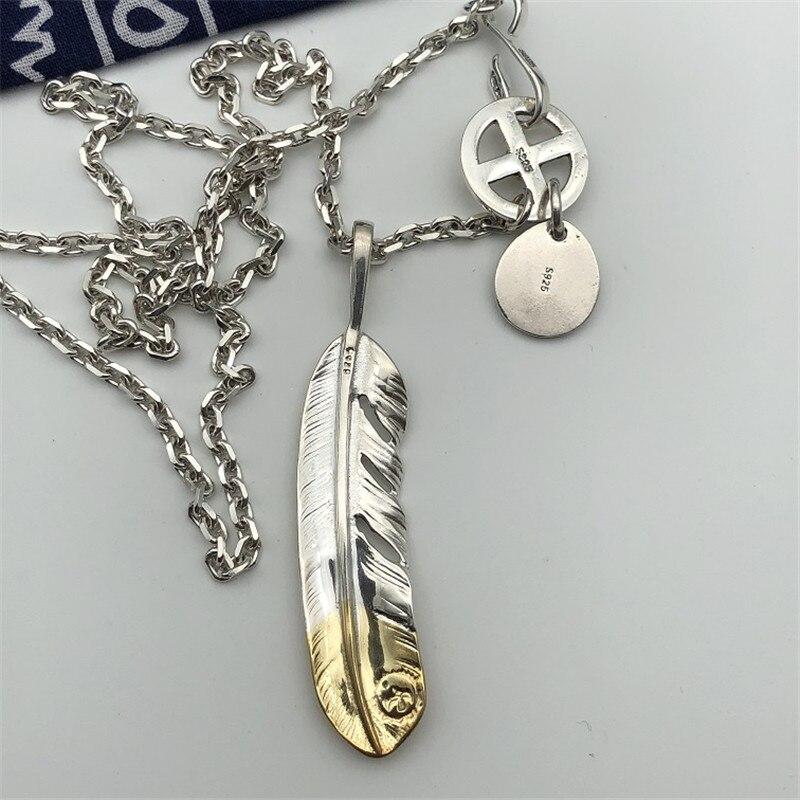 Style indien fait à la main en argent Sterling 925 plume pendentif collier hommes femmes Thai argent bijoux longue chaîne collier hommes bijoux - 4