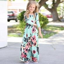 Summer Kids Dresses Children long Sleeve Floral Princess Dress Spring Girl Beach Floral Kids Party Dresses Baby Girl Clothes