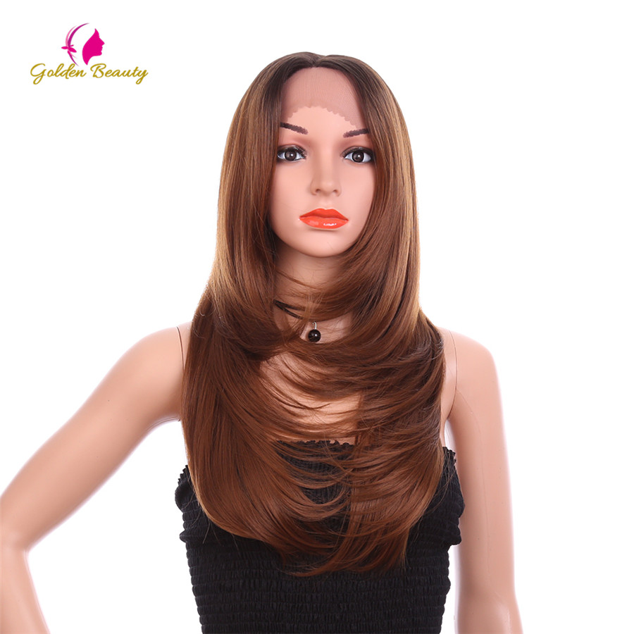 Golden Beauty 24 Inch Long Straight Wig Free Part Synthetic Hair Lace Front Wig For Women Cosplay Wigs