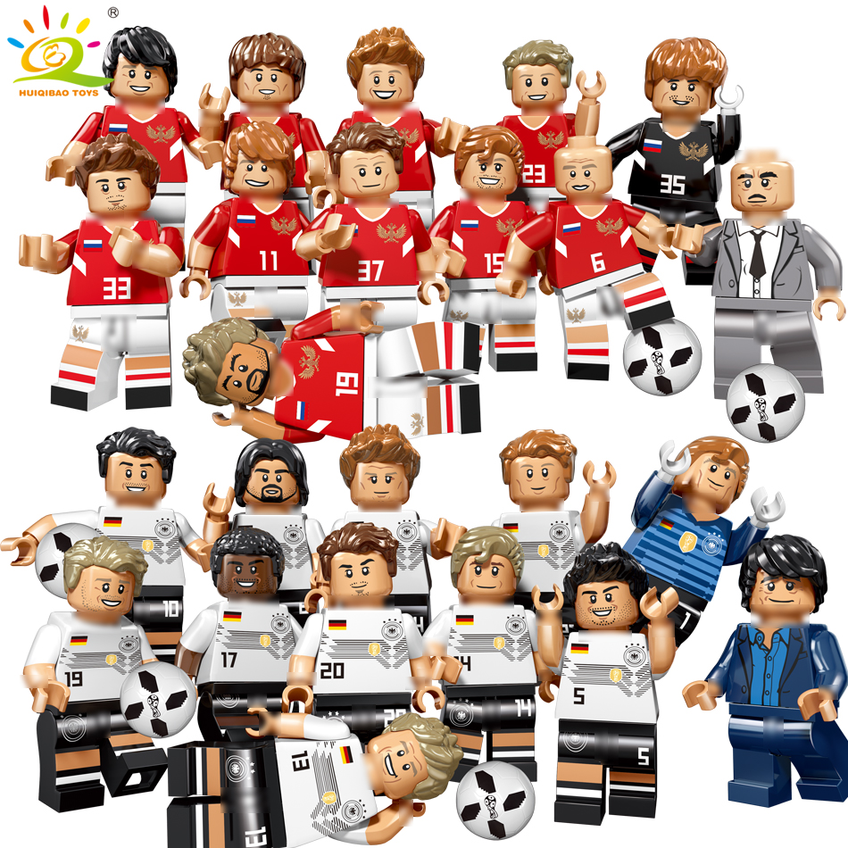 12PCS Football team Players Soccer Building Blocks kit Toys For Children Compatible Legoing City football Figures DIY Bricks set