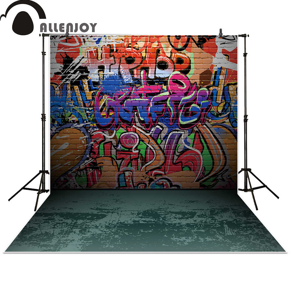 Allenjoy photography backdrop Graffiti brick Wall Birthday party banner photo studio booth background baby shower 3x5ft crack gray wall brick wall photography backdrop background photo studio