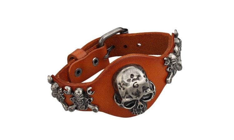New Design Jewelry Multicolor Punk Rock Evil Skull Genuine Leather Wrap Bracelet for Women Men Ride Wristband Bracelets Cuff 4
