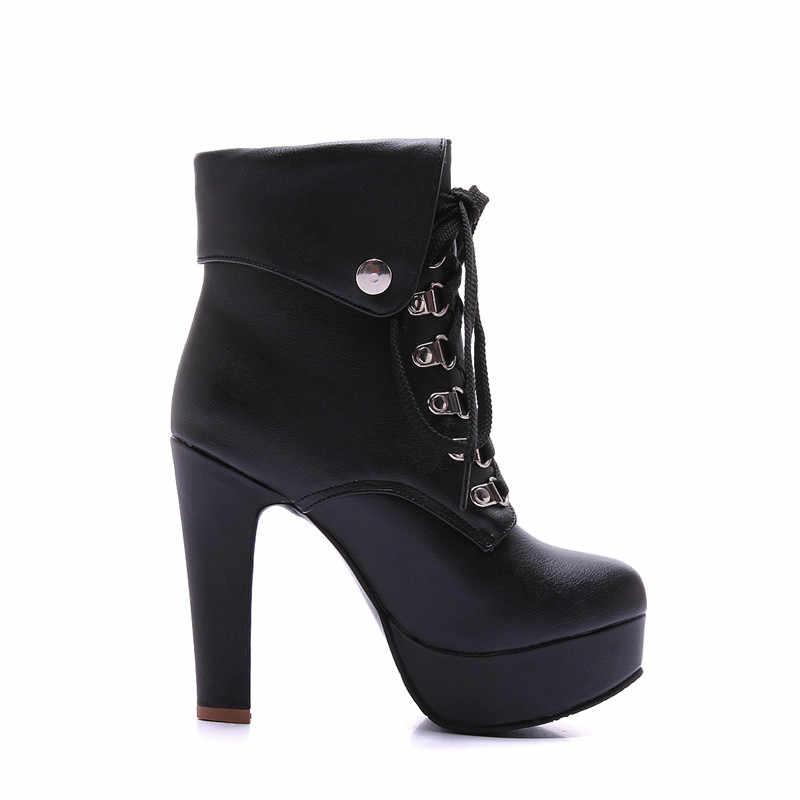 COSMAGIC 2019 yeni kış kadın siyah yarım çizmeler motosiklet yüksek topuk Lace Up gotik Punk platformları Botas Mujer